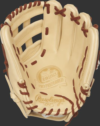 PROSKB17 12.25-inch Pro Preferred Kris Bryant pattern glove with a camel palm and dark tan laces