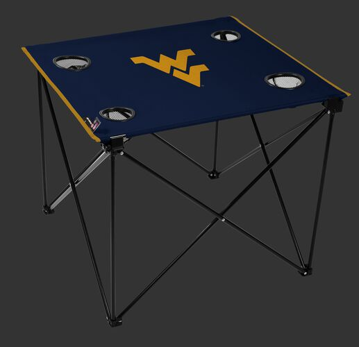A navy NCAA West Virginia Mountaineers deluxe tailgate table with four cup holders and team logo printed in the middle SKU #00713114111