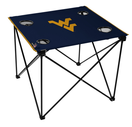 A navy NCAA West Virginia Mountaineers deluxe tailgate table with four cup holders and team logo printed in the middle