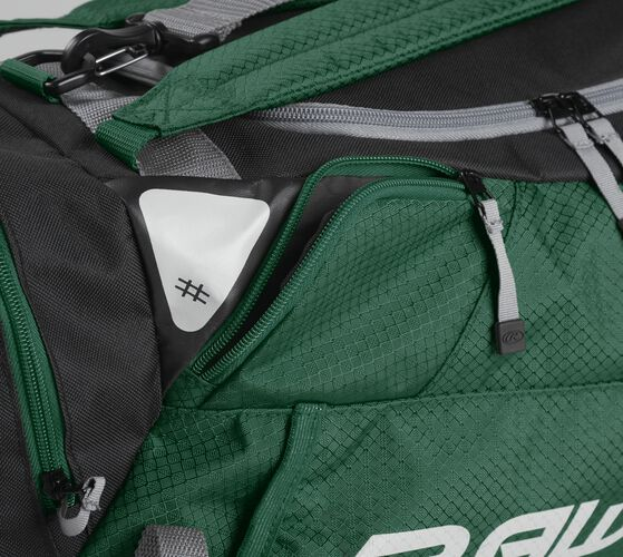 Side accessory pocket on a dark green R601 Rawlings hybrid bag