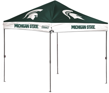 A green/white NCAA Michigan State Spartans 10x10 shelter with a team logo printed on the top