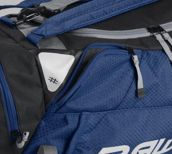 Side accessory pocket on a navy R601 Rawlings hybrid bag