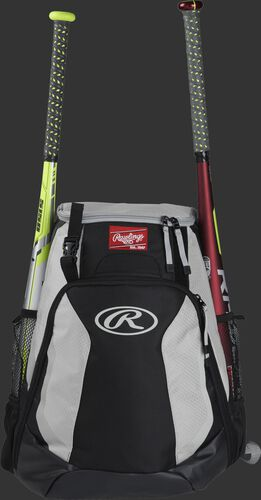 A black/white R500 Rawlings equipment backpack with a bat on each side