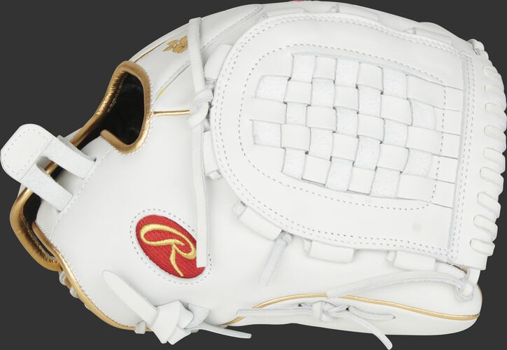 Thumb of a white 2021 Liberty Advanced 12.5-Inch fastpitch glove with a white Basket web - SKU: RLA125KRG