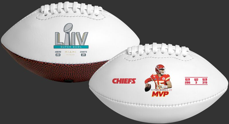 Front and back view of a Patrick Mahomes Super Bowl 54 MVP youth size football