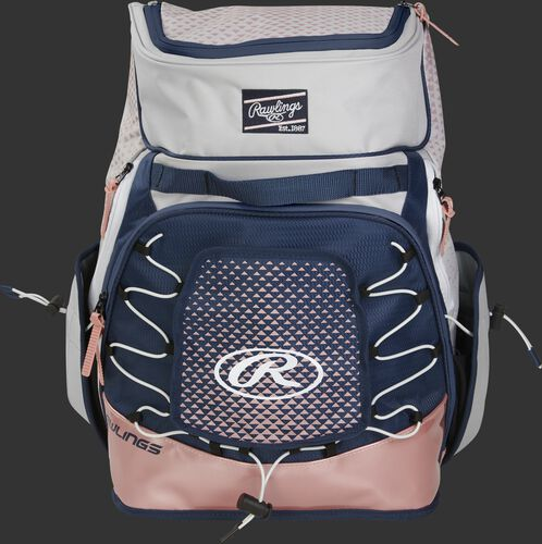 Front of a white/navy/rose gold R800 Rawlings softball backpack with a navy patch and beaver tail external pocket