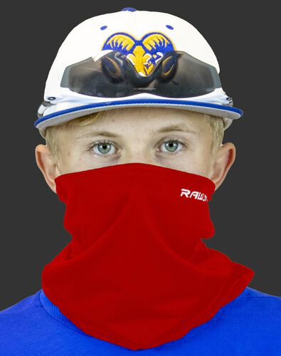 A player wearing a red Rawlings protective neck gaiter over his mouth and nose - SKU: RMSKNG-RED