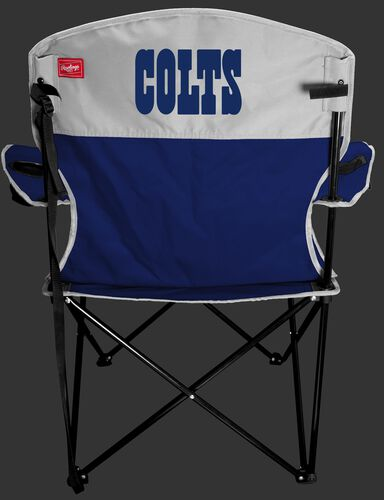 Back of Rawlings Blue and White NFL Indianapolis Colts Lineman Chair With Team Name SKU #31021070111