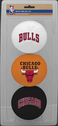 Rawlings White, Brown, and Black NBA Chicago Bulls Three-Point Softee Basketball Set With Team Logo SKU #03524198114
