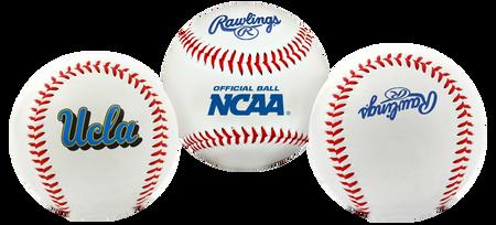 3 views of a NCAA UCLA Bruins baseball with a team logo, NCAA logo and Rawlings logo