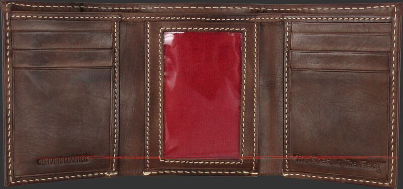 Inside of a brown MW478-201 Rawlings tri-fold wallet with multiple credit card slots and clear ID window in the middle