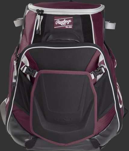 Front of a maroon VELOBK Velo backpack with maroon trim and a maroon Rawlings patch
