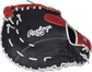 Navy back of a Rawlings Breakout 12-inch first base mitt - SKU: RSGBOYPTFM16NS image number null