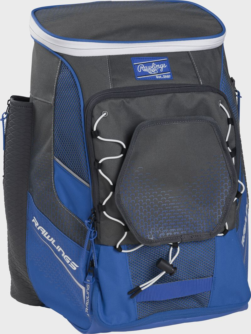 Front left angle of a royal Rawlings Impulse bag with gray accents - SKU: IMPLSE-R