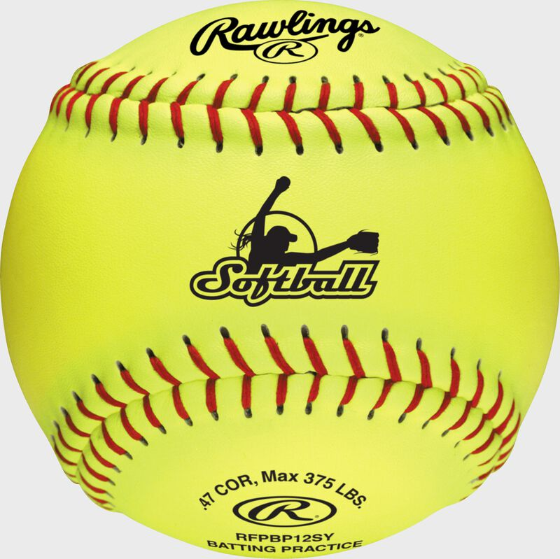 A yellow fastpitch batting practice softball with red stitching - SKU: RFPBP12SY