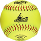 A yellow fastpitch batting practice softball with red stitching - SKU: RFPBP12SY image number null