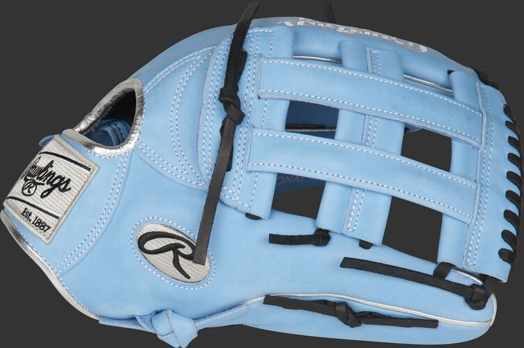 Thumb of a columbia blue PRO3039-6CB 12.75-Inch Heart of the Hide ColorSync outfield glove with a columbia blue H-web