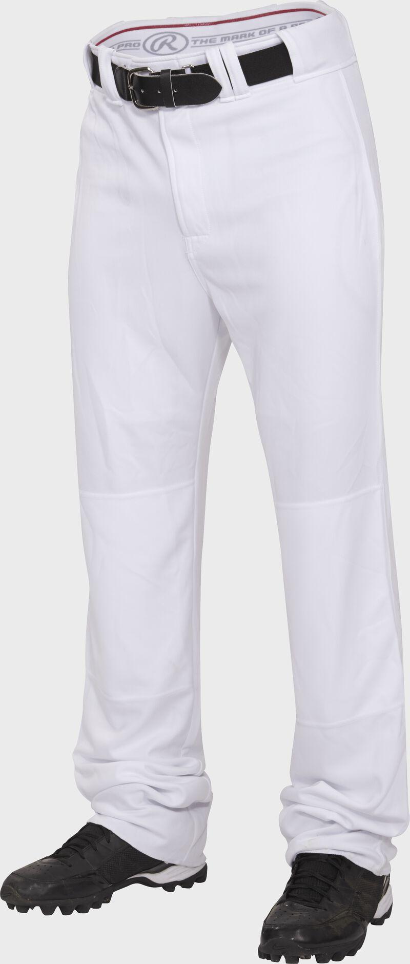 Front of Rawlings White Youth Premium Straight Pant - SKU #BPU150-BG-88