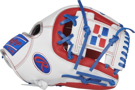 Thumb view of a white PRO314-2DR 11.5-inch Heart of the Hide infield glove with a white I web featuring the Dominican flag
