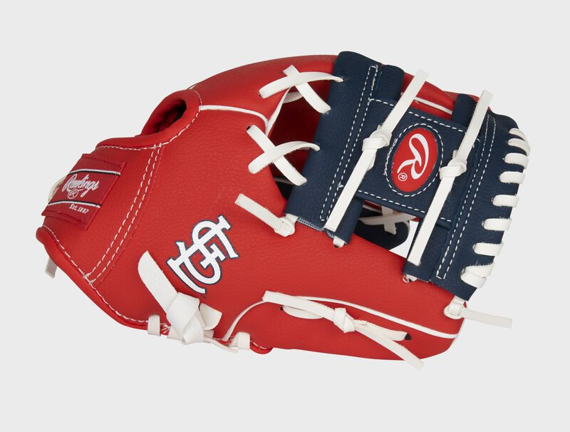 Thumb of a red St. Louis Cardinals 10-Inch team logo glove with a navy I-web and STL logo on the thumb - SKU: 22000007111