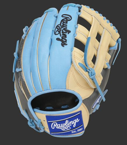 Columbia blue back of a Heart of the Hide 13-Inch H-web glove with a royal Rawlings patch - SKU: PROBH3-6CCBG