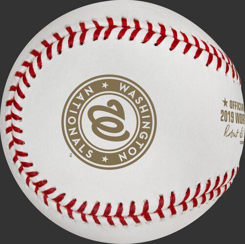 Washington Nationals logo on the Official World Series dueling baseball WSBB19DL