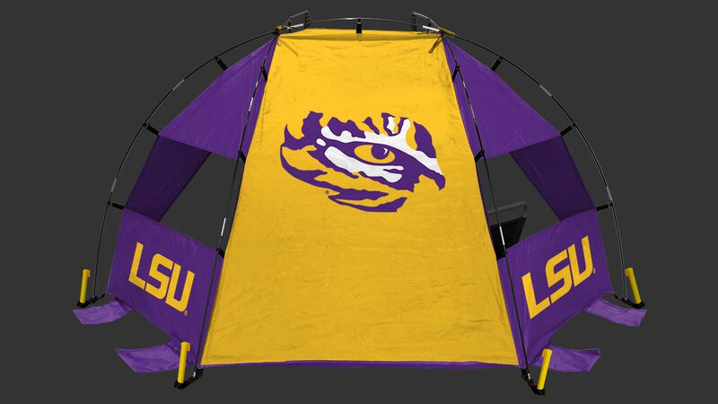 Back of a LSU Tigers sideline sun shelter with the Tigers logo in the middle - SKU: 00973035111