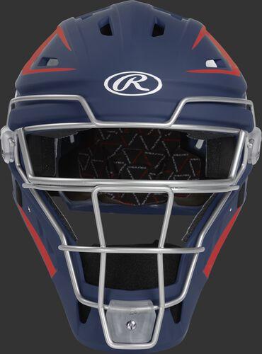 Front of a navy/scarlet CHV27J Velo 2.0 hockey-style catcher's helmet