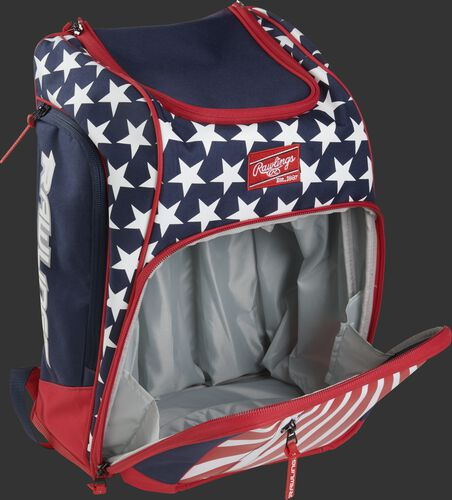 Right angle view of a USA Legion backpack with the main compartment open - SKU: LEGION-USA