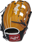 PROS3039-6TN Pro Preferred 12.75-inch H web outfield glove with a rich tan kip leather back and navy trim image number null