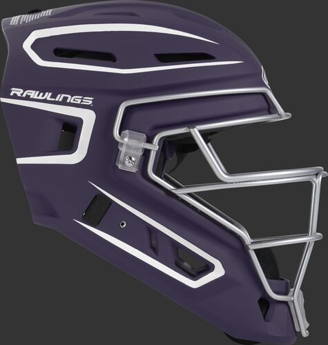 Right side of a purple CHV27J Velo 2.0 youth size catcher's helmet