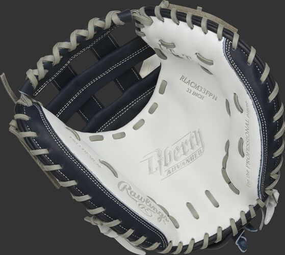 RLACM33FPN Rawlings Liberty Advanced Color Series catcher's mitt with a white palm, navy web and gray laces