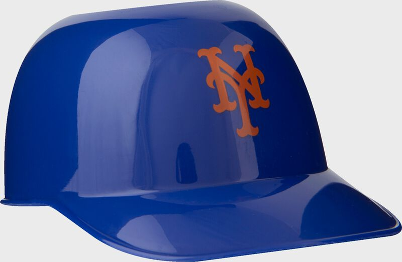 Front of Rawlings Blue MLB New York Mets Snack Size Helmets With Team Logo SKU #01950017121