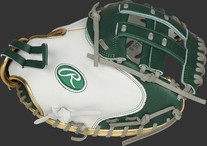 Thumb of a white RLACM33FPDG Liberty Advanced Color Series 33-inch catcher's mitt with a dark green H web