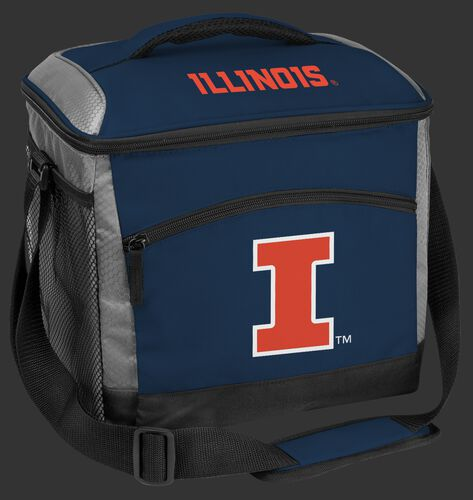 A navy Illinois Fighting Illini 24 can soft sided cooler with screen printed team logos - SKU: 10223029111