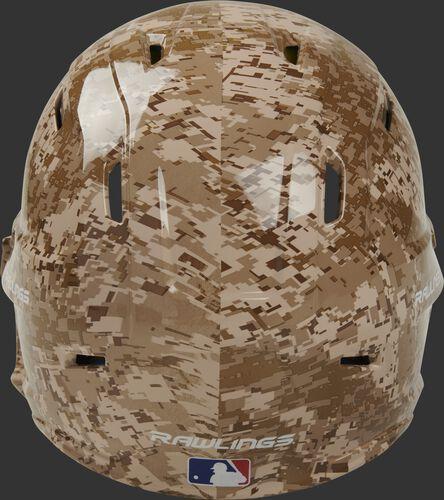 Back of a MACHEXTR-DCMO Rawlings Mach EXT helmet with a digi camo hydro dipped design