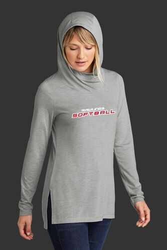 A woman wearing a gray Rawlings Softball performance hoodie with the hood up over her head - SKU: RSGLWH-G