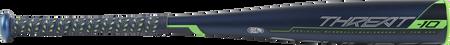 Barrel view of a UT9T10 2019 Threat USSSA baseball bat with a navy barrel and navy/green bat grip