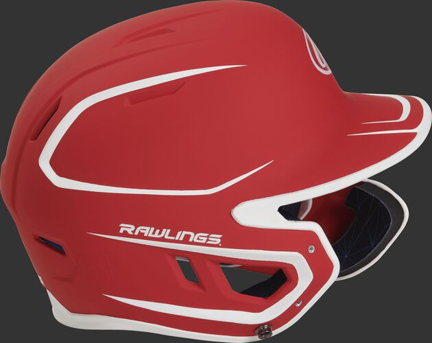 Right side of a MACHEXTR senior Rawlings batting helmet with a two-tone matte scarlet/white shell