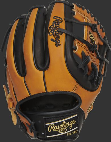 Back of a 2020 Heart of the Hide Horween I-web glove with a Horween tan & black back and black Rawlings patch - SKU: PRO314-2HTB