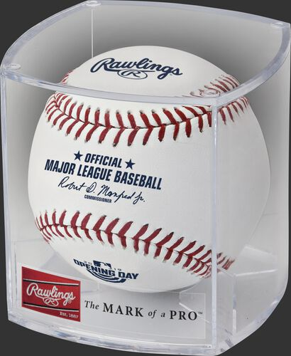 A ROMLBOD19 2019 MLB Opening Day ball in a clear display cube