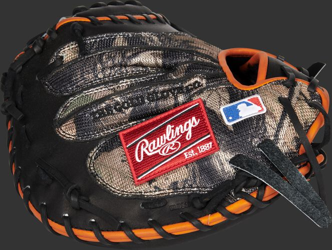 Camo mesh back of a Rawlings HOH catcher's mitt with a red Rawlings patch and MLB logo on the pinky - SKU: PROJB19PRO