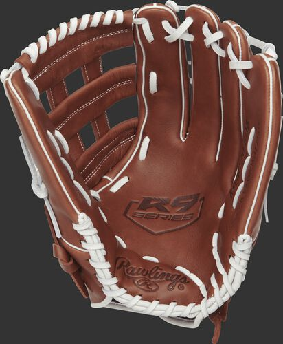 R9SB130-6DB Rawlings 13-inch outfield softball glove with a brown palm and white laces