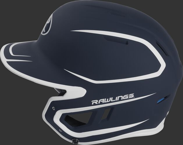 MACH Junior Rawlings batting helmet with a two-tone matte navy/white shell