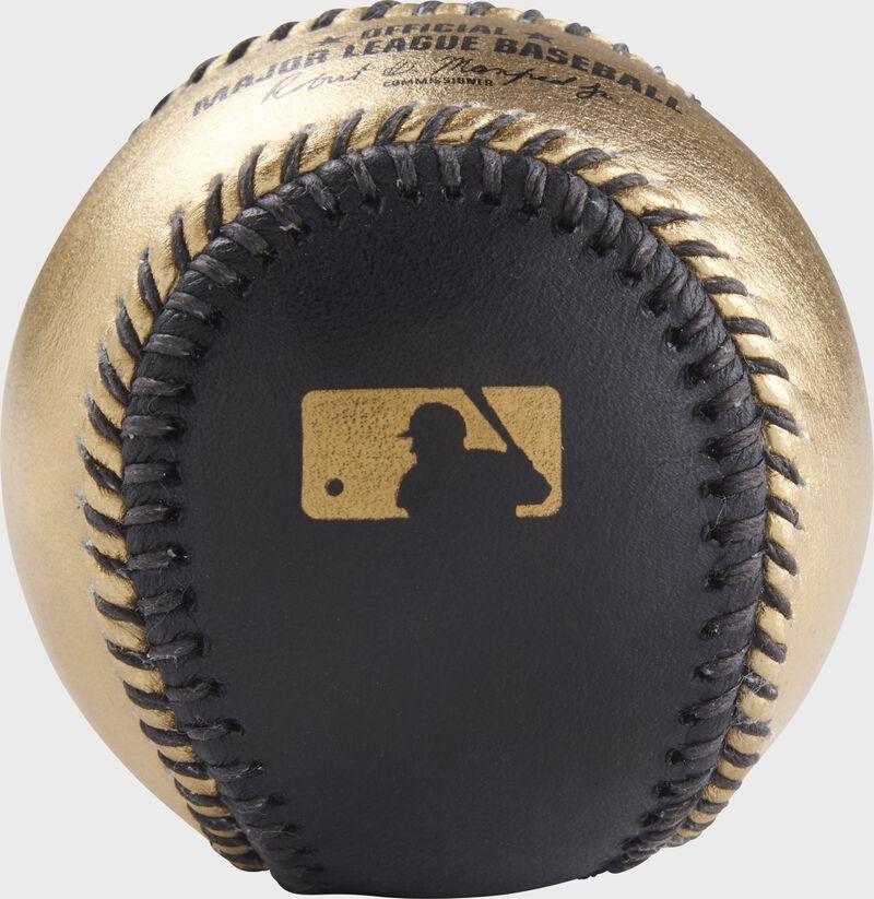Gold MLB logo stamped on the black side of a gold/black MLB baseball - SKU: RSGEA-ROMLB/B-R