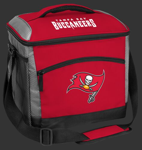 A red Tampa Bay Buccaneers 24 can soft sided cooler with screen printed team logos - SKU: 10211086111