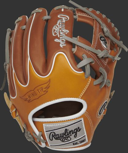 PRO204W-2T Rawlings R2G Infield glove with a tan and brown wing tip back