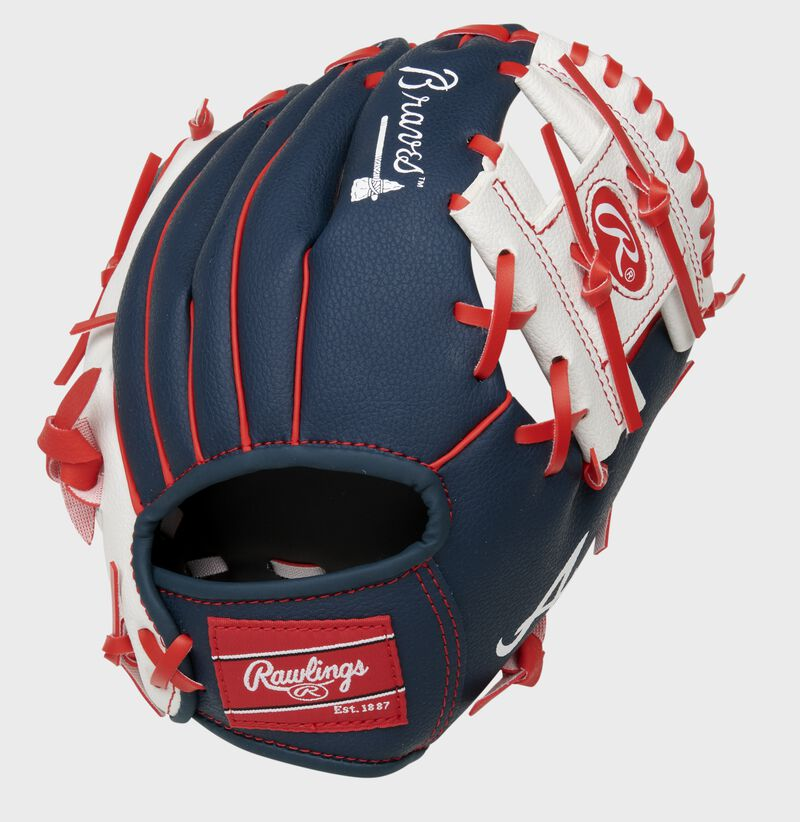 Back of a navy/white Atlanta Braves 10-Inch I-web glove with a red Rawlings patch - SKU: 22000005111