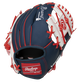 Back of a navy/white Atlanta Braves 10-Inch I-web glove with a red Rawlings patch - SKU: 22000005111 image number null