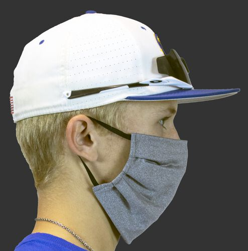 Side view of a player wearing a Rawlings performance wear sports mask with ear loops - SKU: RMSKE-HGRY
